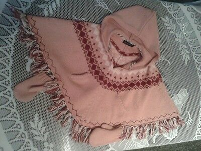 BURBERRY pink knit cape poncho with gloves age 2