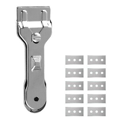 Metal Scraper & 10 Blades Glass Ceramic Hob Paint Window Gasket Cleaning Tool