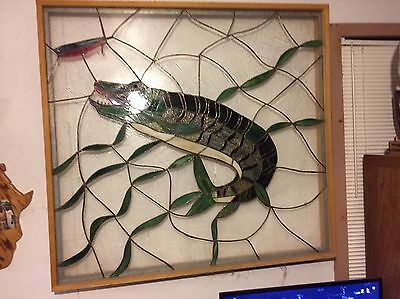 Stain Glass Window 4 Ft X 4 Feet Muskie Fish Art Hand Made Real Hook