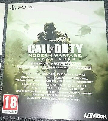 Modern Warfare Remastered download code for PS4