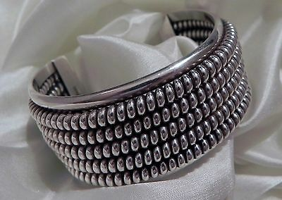 Dramatic & weighty! 83 GRAM Tahe Navajo 925 sterling silver cuff bracelet bangle