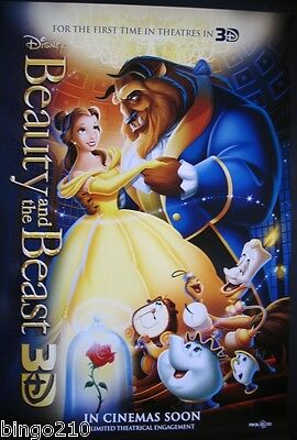 Beauty And The Beast Original Cinema 1 Sheet  Poster 3D Re-Release Disney 2012