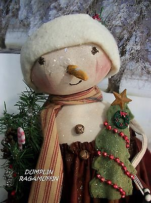 Primitive art doll,Christmas Snow baby,collectible by Dumplinragamuffin