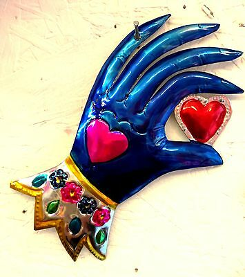 Authentic Mexican Tin Folk Art  Handcut & Painted Hand with Heart Decoration