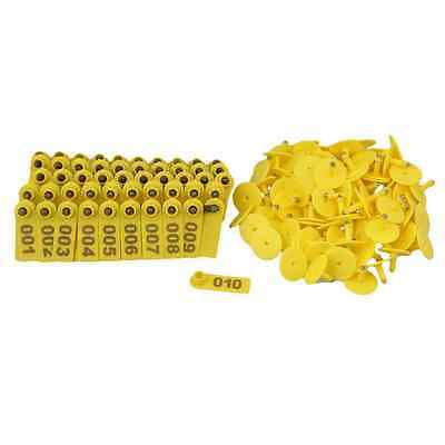 BQLZR Goat Sheep Pig 1-100 Number Plastic Livestock Ear Tag With Yellow Color Pa