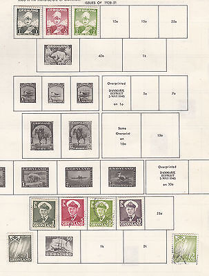GREENLAND   ^^^1938-51   mint & used  selection   @f729xxbgreen