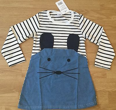 Cute Striped Dress With Appliqué Mouse Age 2-3 NEW WITH TAGS BODEN JOULES NEXT