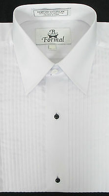 New White Pleated Front Tuxedo Shirt Wing or Laydown Collar **Big & Tall Sizes**