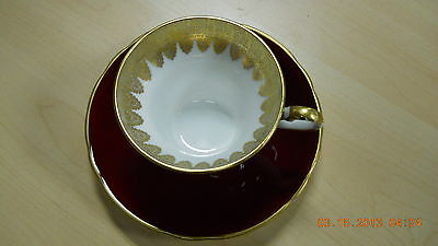 Tea Cup Saucer Aynsley England Red Gold  Bone China 30