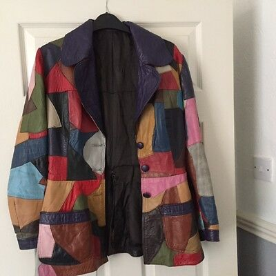 Vintage Patchwork Leather Ladies Leather Jacket Size 8 / Petite 1970s