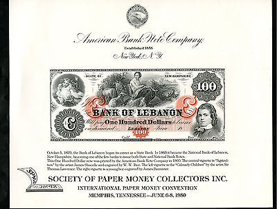 American Bank Note Company Int'l Paper Money $100 Bank Of Lebanon Show Card