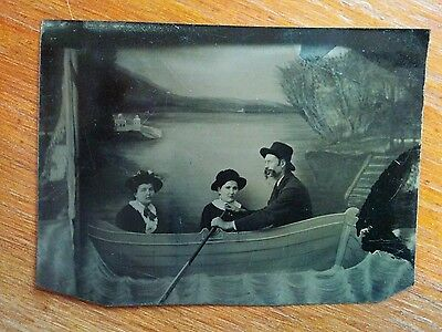 Sailboat prop tintype later 1800s father & two daughters painted lake backdrop
