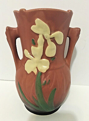 Nice Reproduction Pottery Iris Art Deco Handled Vase Brown EUC