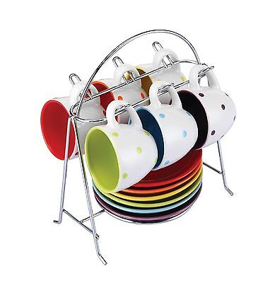 Zodiac Colours 6pc Spots Espresso Cups And Saucers Set With Stand
