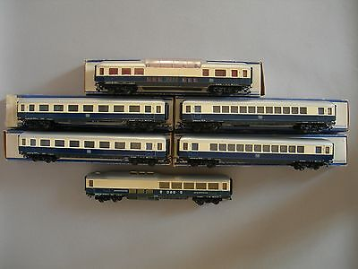 MECCANO HORNBY RAME RHEINGOLD 6 VOITURES Réf 7444 /7448 / 7450 ECHELLE HO