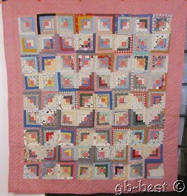 Graphic 1930s Log Cabin Antique Quilt ZIG ZAGS Feedsacks Juveniles 84 x 74""