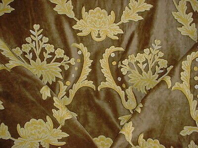 4y COLEFAX FOWLER EMBROIDERED GARDEN FLORAL WOOL CREWEL VELVET UPHOLSTERY FABRIC