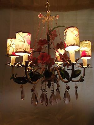 Large Vintage Antique Italian Tole Pink Crystals Flowers Chandelier 6 arm
