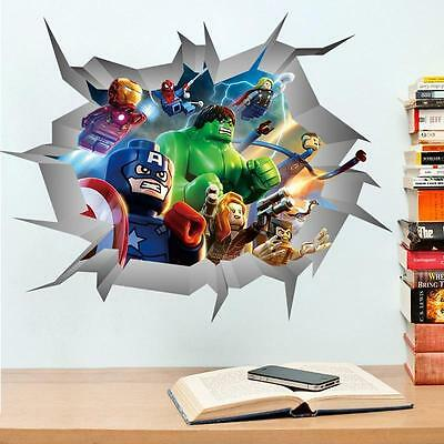 Lego Movie Avengers Wall Stickers Decals Art for Baby Nursery Kid Room Home Deco