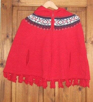 Girls Red Fairisle Poncho like Little Red Riding Hood's Cape LANDS END KIDS S/M