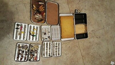 Antique Vintage Fly Fishing Boxes With Flys