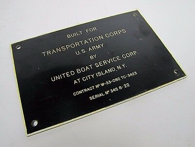 Old Built for Transportation Corps US Army by United Boat City Island NY Sign