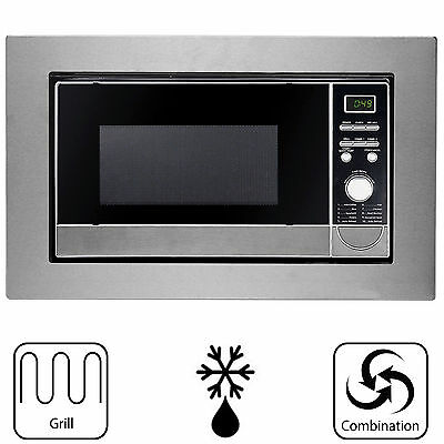 SIA Built In Brushed Stainless Steel Microwave & Grill 20L With LED Display