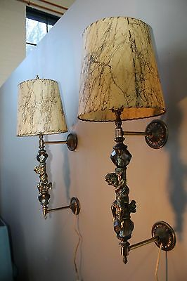 """Vintage Brass/Lucite Angel Wall Sconces/Lights Pair Hollywood Regency 29 1/2"""""""