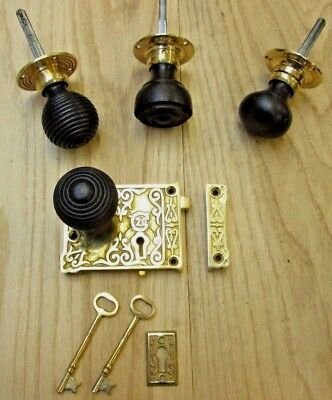 Solid Brass Vintage Victorian Old Style Rim Door Knob Set + Lock