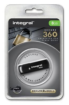 Integral 8GB Secure 360 Encrypted USB 2.0 Drive with 256 bit AES Secure Lock II.