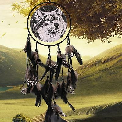 Handmade Dream Catcher Black Feathers Home Wall Hanging Decoration Ornament-Wolf