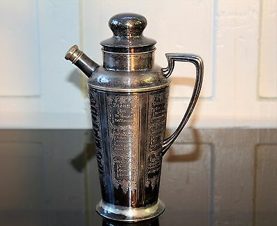 """Vintage Bernard Rice & Sons Inc. Silver Plate Cocktail Shaker """"what'll Yer Have"""""""