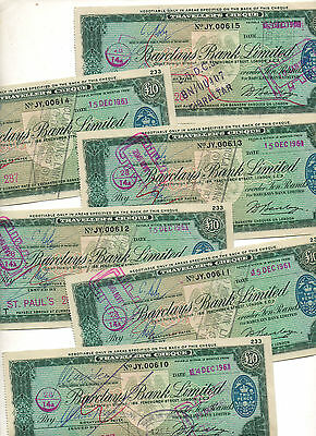 1961 Barclays Bank Ltd, 6 X £10 Travellers Cheque. Chief Foreign Branch London