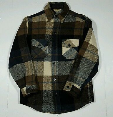 Vintage CPO William Barry Men's Small Flannel Shirt Long Sleeve Brown Plaid