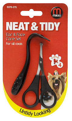 Mikki Neat & Tidy Ear & Face Scissors & Comb Care Set Dog And Cat Grooming