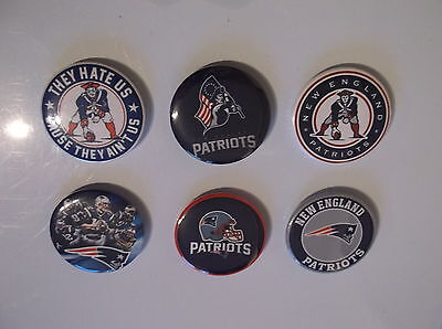 NEW ENGLAND PATRIOTS  set of 6  BADGES OR  FRIDGE MAGNETS  38mm each