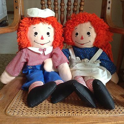 Raggedy Ann & Andy, Handmade, Approximatwly 27 In.tall