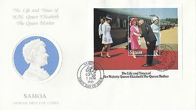 (94950) CLEARANCE Samoa FDC Queen Mother Life & Times minisheet 7 June 1985