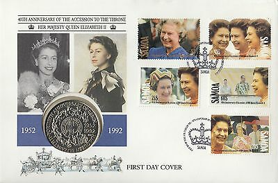 (94925) CLEARANCE Samoa S1 COIN FDC Queen Accession 40 years 6 February 1992