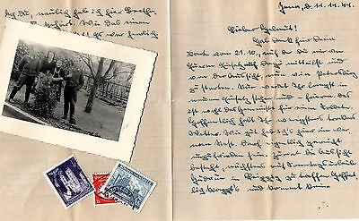 Original Ww2 German Letter + Photo And Stamps.