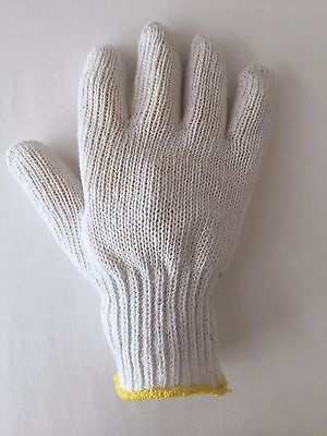 Made in USA 48 Pairs Bleached White String Knit Gloves Work Small Bulk Cotton S
