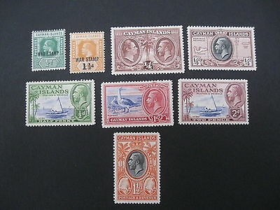 Cayman Islands KG5 group of 8 mint stamps cat £13.65