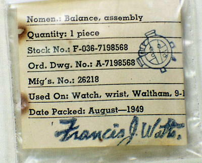 Vintage Watchmakers NOS Waltham Military ORD Watch Balance Assembly Part #1L