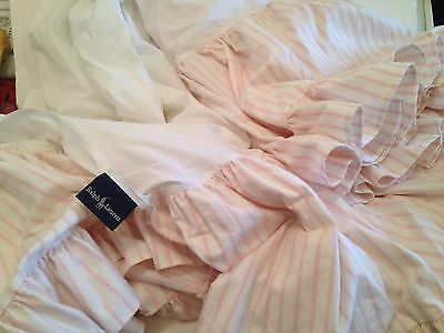 Ralph Lauren Bed Skirt Twin Pink Stripe Shabby Cottage Frilly Ruffled Flannel