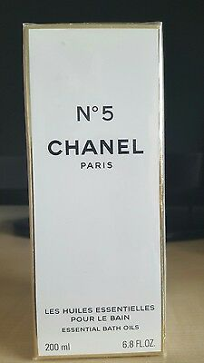 New Cellophane Sealed Box.Discontinued CHANEL No 5 ESSENTIAL BATH OILS. 200ml