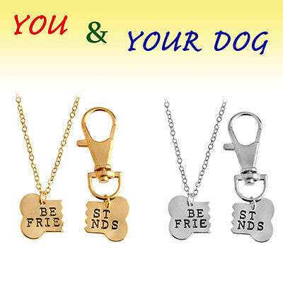 Best Friends Dog Bone Necklace - Stainless Pendant - Charm Silver -Jewerly Chain