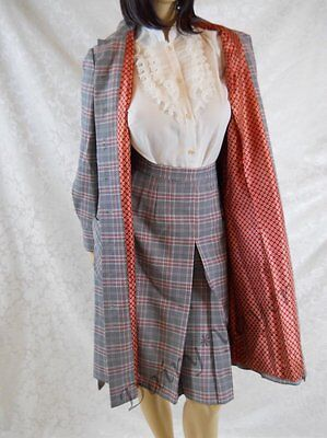 sz LARGE vintage Fred Rothschild 2 pc Skirt Long JACKET duster Suit Lined Plaid