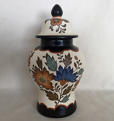 Excellent Vintage Gouda Flora Plateel Holland Covered Pottery Vase Hand Painted