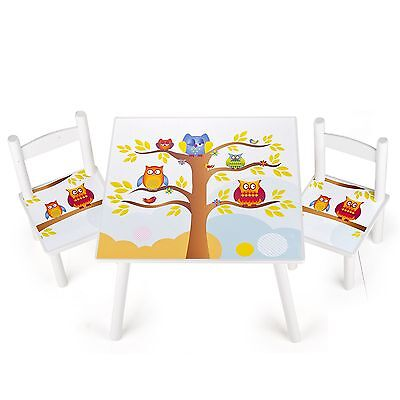 Owls Wooden Table & Chairs Childrens Bedroom Furniture New