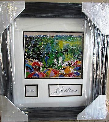 "Leroy Neiman ""Arnie in the Rain"" Arnold Palmer Golf Masters framd bookplate art"